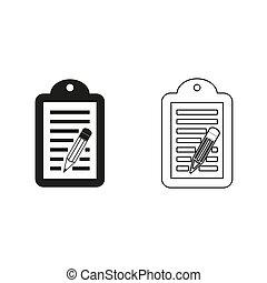 -, groene, vector, pictogram, notepad