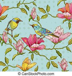 -, plakboek, vector, achtergrond, bloemen, vogels, seamless, ontwerp, ouderwetse