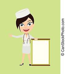 -, plank, verpleegkundige, leeg, het voorstellen, blij