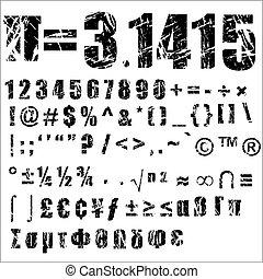 -, symbool, 2, grunge, getal