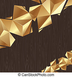 -, vector, gouden, black , plank, achtergrond, driehoekig, abstract, communie, hout