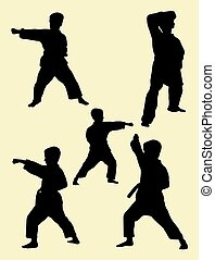 01., karate, geitjes, silhouette