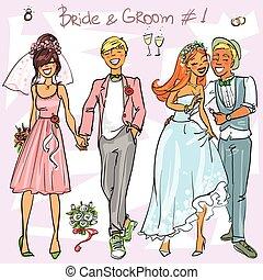 1, bruid, bruidegom, set