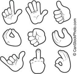#2, spotprent, handen