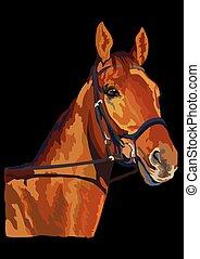 22, vector, kleurrijke, paarde, verticaal