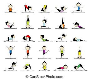 25, vrouw, beoefenen, yoga, ontwerp, maniertjes, jouw