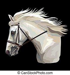 30, vector, kleurrijke, paarde, verticaal