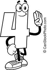 4, geschetste, hand, getal, karakter, vier, spotprent, het tonen, gekke