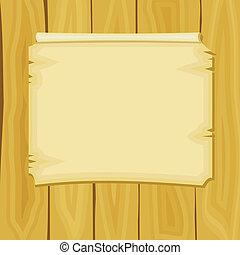 aankondiging, raad, houten, illustratie, vector, spotprent