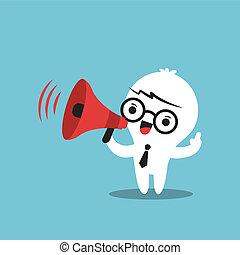 aankondiging, zakelijk, maken, karakter, megafoon, spotprent