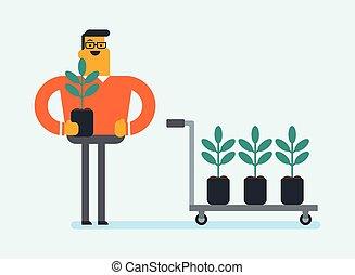 aanplant, jonge, boom., wite kaukasiër, tuinman