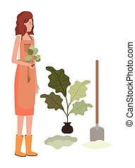 aanplant, karakter, avatar, tuinman, vrolijke