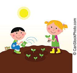 aanplant, kinderen, tuin, planten