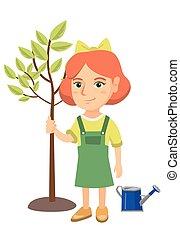 aanplant, meisje, boom., het glimlachen, kaukasisch