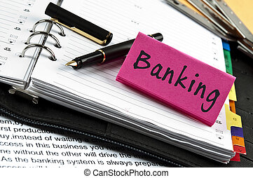 aantekening, bankwezen, pen, agenda