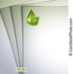 aantekening, groene, papier, blad, leeg