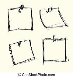 aantekening, pushpins, papieren, getrokken, hand