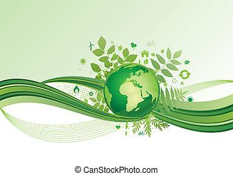aarde, milieu, groene, ba, pictogram