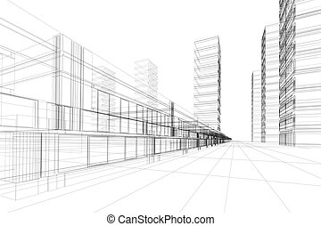 abstract, architectuur, 3d