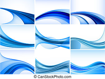 abstract, blauwe achtergrond, set, vector