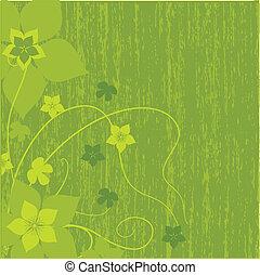 abstract, bloemen, groene achtergrond