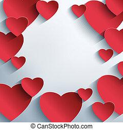 abstract, creatief, achtergrond, hartjes, modieus, rood, 3d