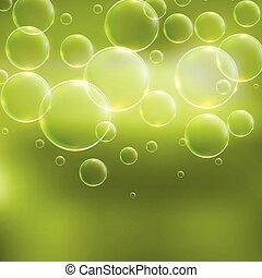 abstract, groene, bellen, achtergrond