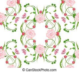 abstract, seamless, textuur, rozen, ontwerp, floral, jouw