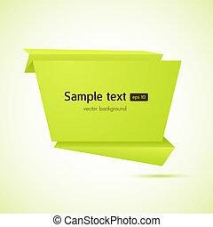 abstract, vector, toespraak, achtergrond, origami, bel