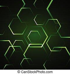 abstract, zeshoek, groene achtergrond