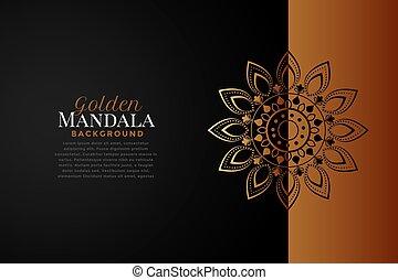 achtergrond, black , mandala, zwelde kleur aan, goud