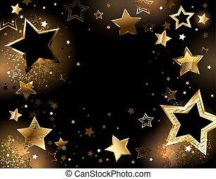achtergrond, goud, sterretjes, black