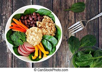 achtergrond, groentes, gezonde , kom, scène, quinoa, rustiek, hummus, hout, bovengronds, etentje, gemengd