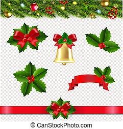 achtergrond, groot, transparant, set, kerstmis