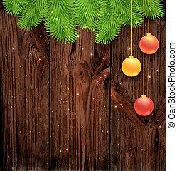 achtergrond., hout, kerstmis, vrolijk