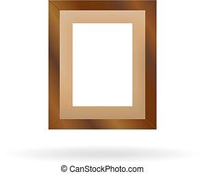 achtergrond, houten, fotokader, witte , schaduw