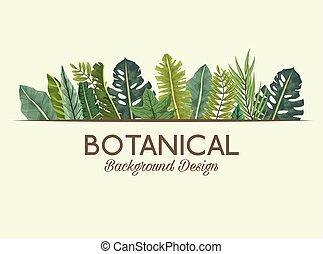 achtergrond, lettering, flora, tropische , vellen, ontwerp