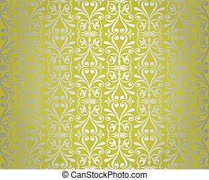 achtergrond, ontwerp, behang, groene, zilver, ouderwetse