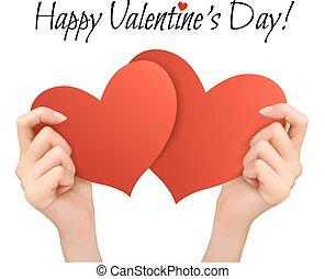 achtergrond, twee, valentijn, vector, hearts., holdingshanden, vakantie, rood
