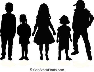 achtergrond., vector, kinderen, silhouette, witte