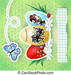 achtergrond, vlinder, vector, pasen, green., eitjes