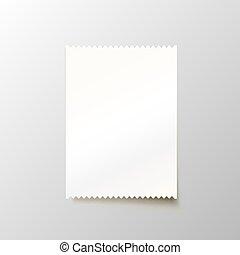 achtergrond., witte , papier, bankcheque, leeg