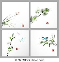 achtergronden, vogel, vlinder, boompje, dennenboom