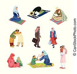activiteiten, anders, set, mensen, moslim, alledaags, arabische