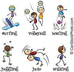 activiteiten, anders, zes