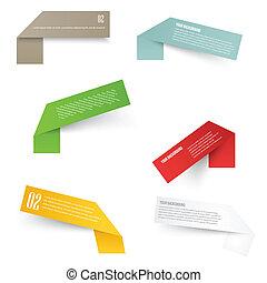 acuut, set, hoeken, labels., leeg, rechthoek