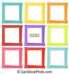 afbeelding, set, houten, lijstjes, kleur, negen