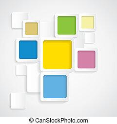 afgerond, kleurrijke, graphi, -, vector, achtergrond, randjes, pleinen