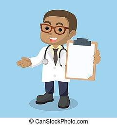 afrikaan, jongen, klembord, vasthouden, arts