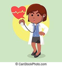 afrikaan, stethoscope, vrouwlijk, vasthouden, arts